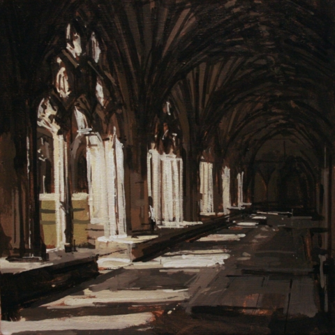 joseph ryan artist painting landscape cloisters canterbury cathedral
